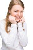Kleines Mädchen, das ausdrucksvoll lacht Lizenzfreies Stockbild