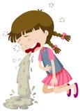 Kleines Mädchen, das von der Lebensmittelvergiftung sich erbricht Stockbilder