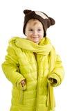 Kleines Mädchen in der erwachsenen Jacke und im Hut Stockbild