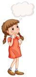 Kleines Mädchen mit denkender Blase Lizenzfreie Stockbilder
