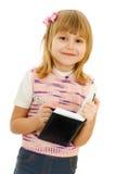 Kleines Mädchen mit Notizbuch Stockbild