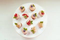 Kleines Muffin mit Sahne, Blaubeeren, Moosbeeren und Korinthen Lizenzfreie Stockbilder