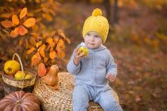 Kleines nettes Baby im gelben Winterhut, der auf Kürbis im Herbstwald allein sitzt Stockfotografie