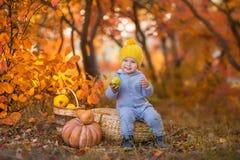 Kleines nettes Baby im gelben Winterhut, der auf Kürbis im Herbstwald allein sitzt Lizenzfreie Stockfotos