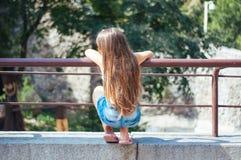 Kleines nettes Mädchen mit dem langen Haar, das im Park, Ansicht von der Rückseite auf einem Sommer sitzt lizenzfreies stockbild