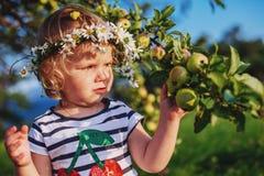 Kleines nettes Mädchen mit einem Kranz auf seinem Kopf Lizenzfreie Stockfotografie