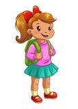 Kleines nettes Mädchen mit Rucksack lizenzfreie abbildung