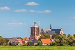 Kleines niederländisches Dorf in der Provinz von Friesland Stockfotografie
