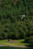 Kleines norwegisches Holzhaus auf dem Fjordufer Lizenzfreie Stockfotos