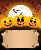 Kleines Pergament und Halloween-Kürbise 1 Stockfoto