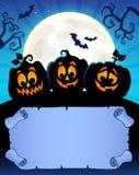 Kleines Pergament und Halloween-Kürbise 2 Stockfoto