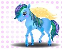 Kleines Pferd des blauen Babys der netten Karikatur vektor abbildung