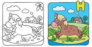 Kleines Pferde- oder Ponymalbuch Alphabet H Stockbild