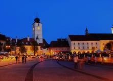 Kleines Quadrat, Sibiu, Rumänien Lizenzfreies Stockfoto