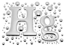 Kleines Quecksilber Hektogramm-Metallschild mit kleinen Tropfen lizenzfreie abbildung