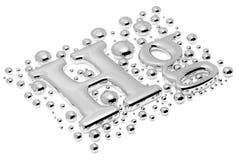 Kleines Quecksilber Hektogramm-Metallschild mit Tropfen stock abbildung