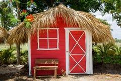 Kleines rotes Haus mit Palmblattdach Lizenzfreies Stockfoto