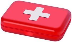 Kleines rotes Plastik-Medibox lokalisiert auf Weiß Stockfoto