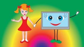 Kleines schönes Mädchen, das einen Fernseher hält Lizenzfreie Stockfotos