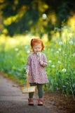 Kleines schönes rothaariges kleines Mädchen, das auf Löwenzahn, herein durchbrennt lizenzfreies stockbild