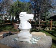 Kleines Schachbrett und großes Schachpferd stockbild