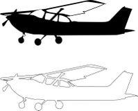 kleines sillhouete Flugzeug des Vektors Stockfotografie