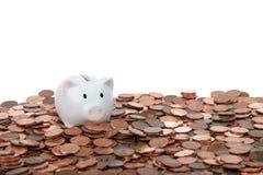 Kleines Sparschwein auf Tabelle von Pennys Lizenzfreies Stockfoto