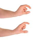Kleines und größeres Handzeichen lokalisiert Lizenzfreies Stockfoto