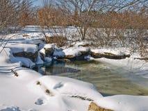 Kleines Wasserpool im Winter stockfotos