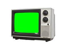 Kleines Weinlese-Fernsehen lokalisiert mit Farbenreinheits-Schlüssel-Grün-Schirm Lizenzfreie Stockbilder