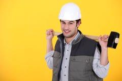 Kleinhandelaar met een houten hamer Stock Foto's