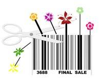 Kleinhandels heeft reusachtige definitieve verkoop met streepjescode Stock Afbeelding