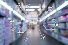 Kleinhandels marketing kanalene-commerce het Winkelen automatiseringsconcept op vage supermarkt background? stock illustratie