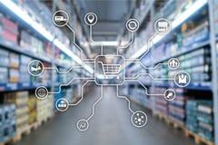 Kleinhandels marketing kanalene-commerce het Winkelen automatiseringsconcept op vage supermarktachtergrond vector illustratie