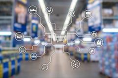 Kleinhandels marketing kanalene-commerce het Winkelen automatiseringsconcept op vage supermarktachtergrond stock afbeelding