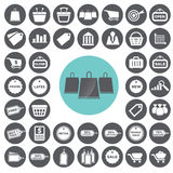 Kleinhandels- und Marketing-Ikonen eingestellt lizenzfreie abbildung