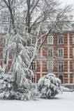 Kleinhandels van openbare tuin met sneeuw op bomen met de oude bouw royalty-vrije stock foto's