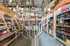 Kleinhandelsconcept marketing kanalene-commerce het Winkelen automatisering op vage supermarktachtergrond royalty-vrije illustratie