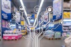 Kleinhandelsconcept marketing kanalene-commerce het Winkelen automatisering op vage supermarktachtergrond stock fotografie