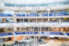 Kleinhandelsconcept marketing kanalene-commerce het Winkelen automatisering op vage supermarktachtergrond royalty-vrije stock afbeelding