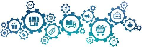"""Kleinhandelspictogram van de concepten†""""opslagbeheer, het winkelen & e-commerce, logistiek & organisatie †""""vectorillustratie vector illustratie"""