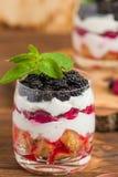 Kleinigheids dichte omhooggaande fotografie met vers multi gelaagd dessert met zuivel en rijpe frambozen en braambessen royalty-vrije stock foto