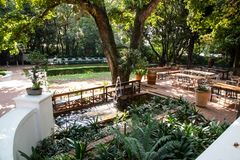 Kleinkaap Hotel in Centurion South Africa. Pretoria, South Africa, 11 February - 2019: Exterior view of hotel gardens in the cape dutch style royalty free stock photography