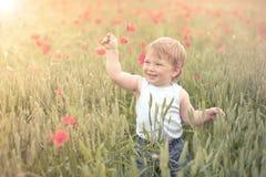 Kleinkind auf dem Mohnblumegebiet stockfotos