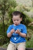 Kleinkind, das Blumen hält Lizenzfreie Stockfotos