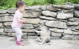Kleinkind, das mit Schlittenhund spielt Lizenzfreie Stockfotos