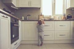 Kleinkind in der Küche allein Stockbild