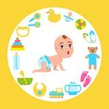 Kleinkind-Kind im Windel-Schleichen auf allem Fours-Vektor lizenzfreie abbildung