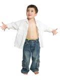 Kleinkind mit den Armen ausgestreckt stockfotografie