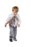 Kleinkind mit Plüschtier und Friedensstifter Stockbild